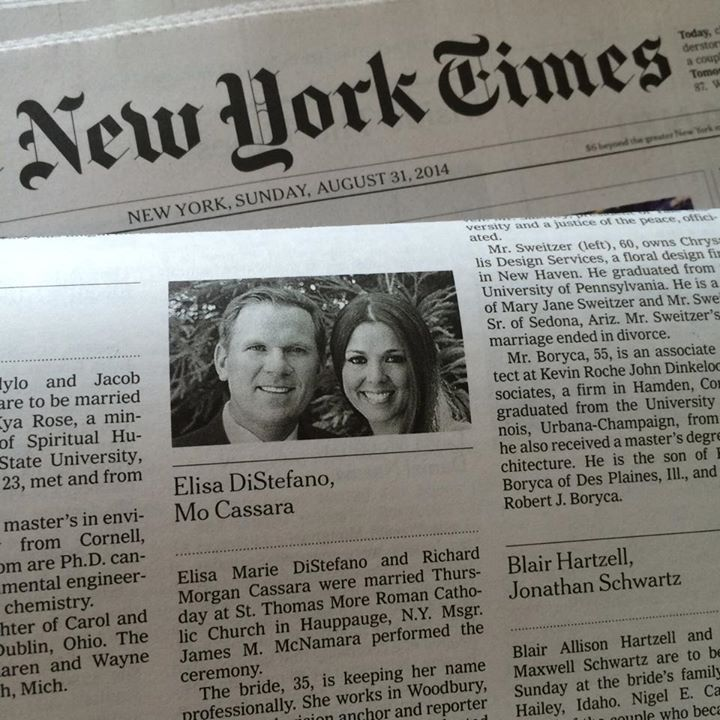 New York Times Wedding Announcement.Ny Times Wedding Announcement Elisa Distefano